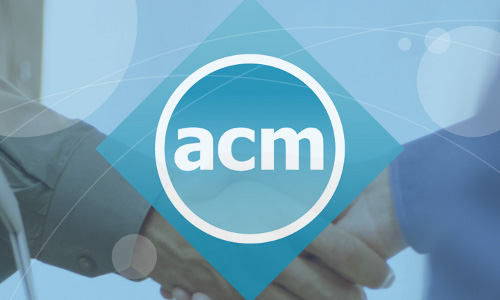 The ACM logo over shaking hands.